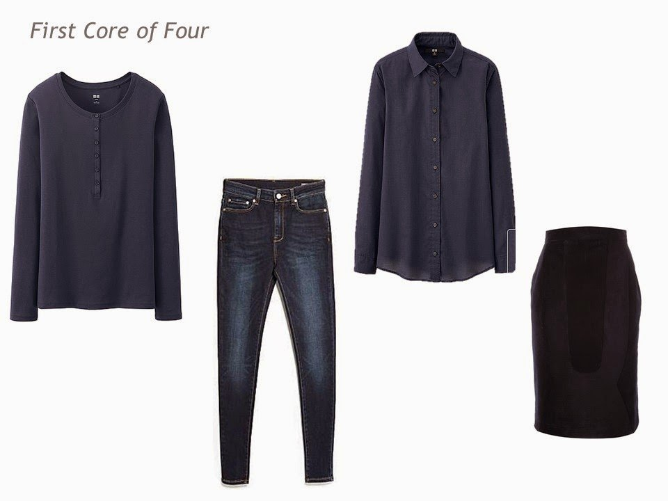 Core of Four garments in navy - henley shirt, jeans, blouse and skirt