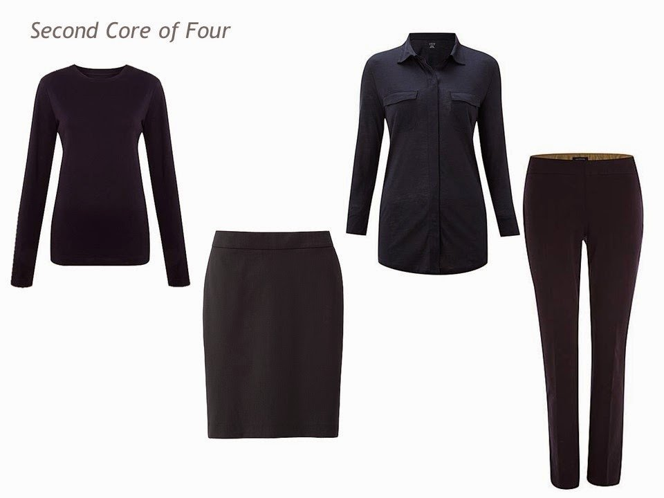 Core of Four in navy: tee shirt, skirt, silk shirt and trousers