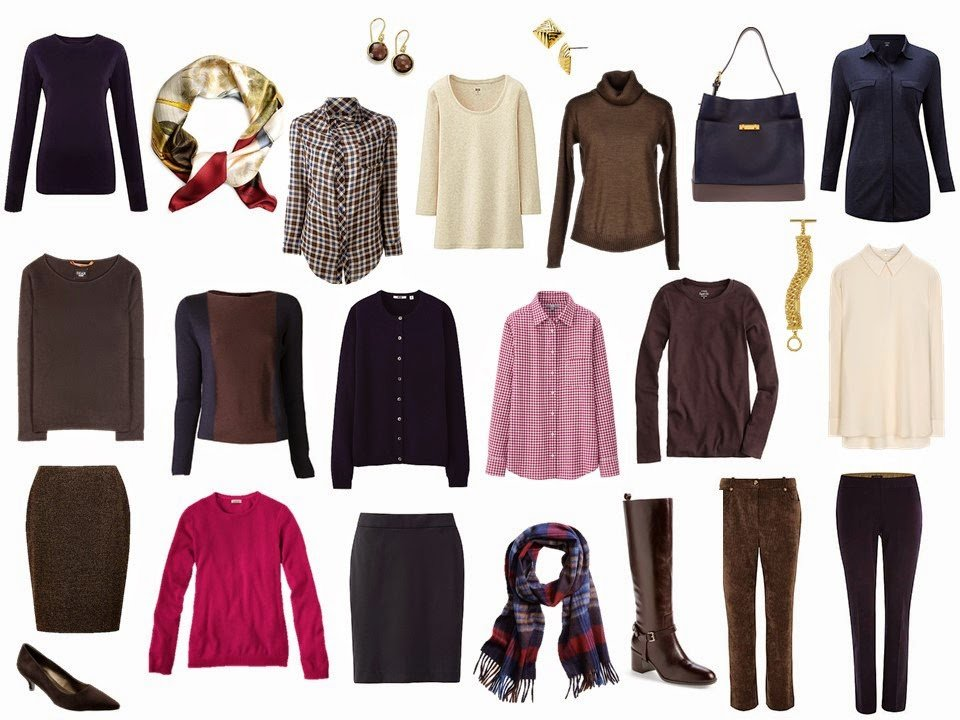 Four by Four Wardrobe, with accessories, in Berry, Beige, Navy and Brown