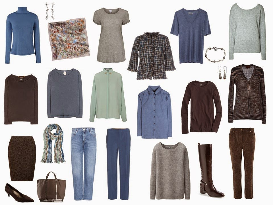 Four by Four wardrobe in Mint Green, Grey, Denim Blue and Brown, with accessories