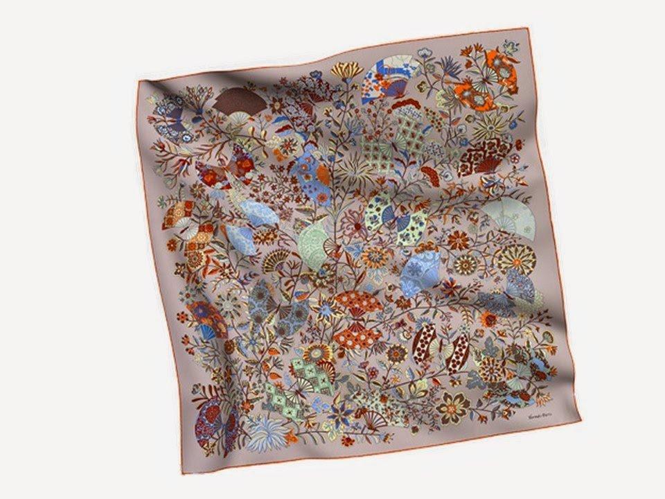 Hermes silk scarf Fleurs et Papillons de Tissus