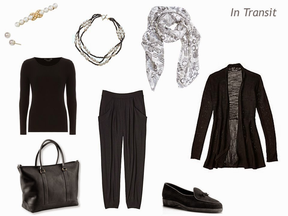 What to wear flying to Paris - all black, with pearl accessories