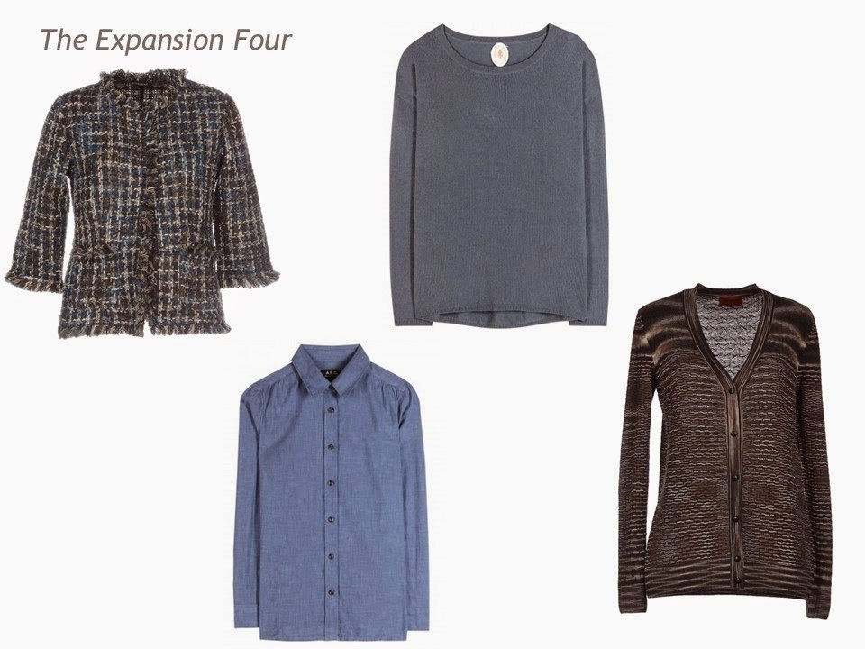 Expansion Four garments in brown and denim blue: tweed jacket, chambray shirt, sweater and cardigan