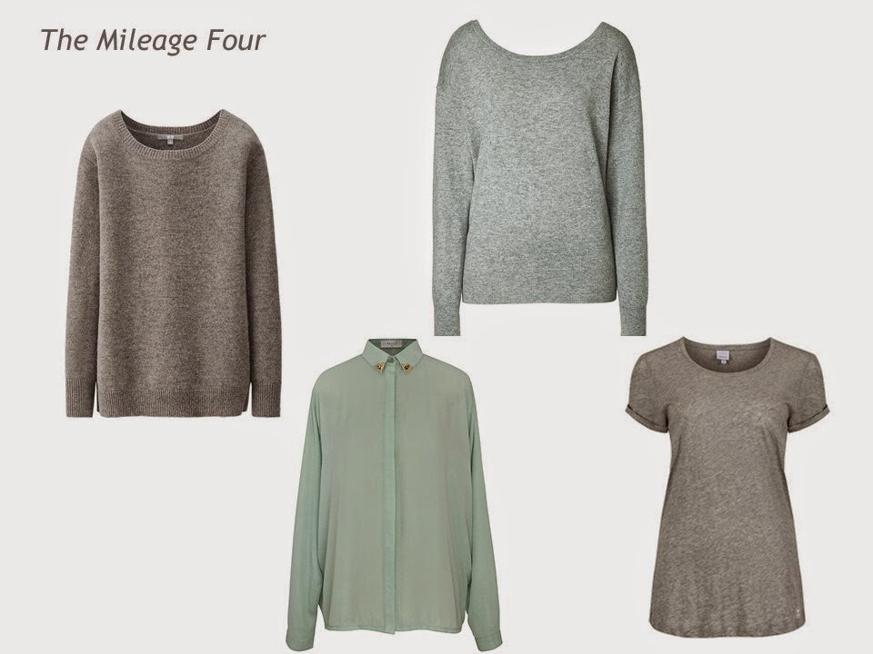 Expansion Four garments in mint green and grey: tunic sweater, blouse, sweater and tee shirt
