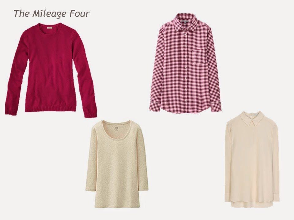 Mileage Four garments in berry and beige: sweater, tee shirt, plaid shirt and blouse
