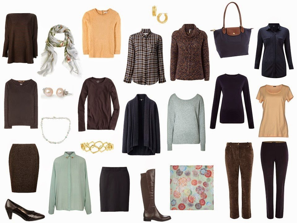 A 4 by 4 Wardrobe in Apricot, Celadon, Navy and Brown, with accessories