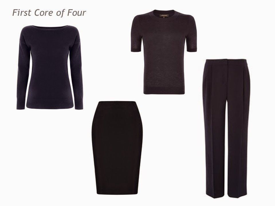 Core of Four four garments in one color navy tops, pants and a skirt