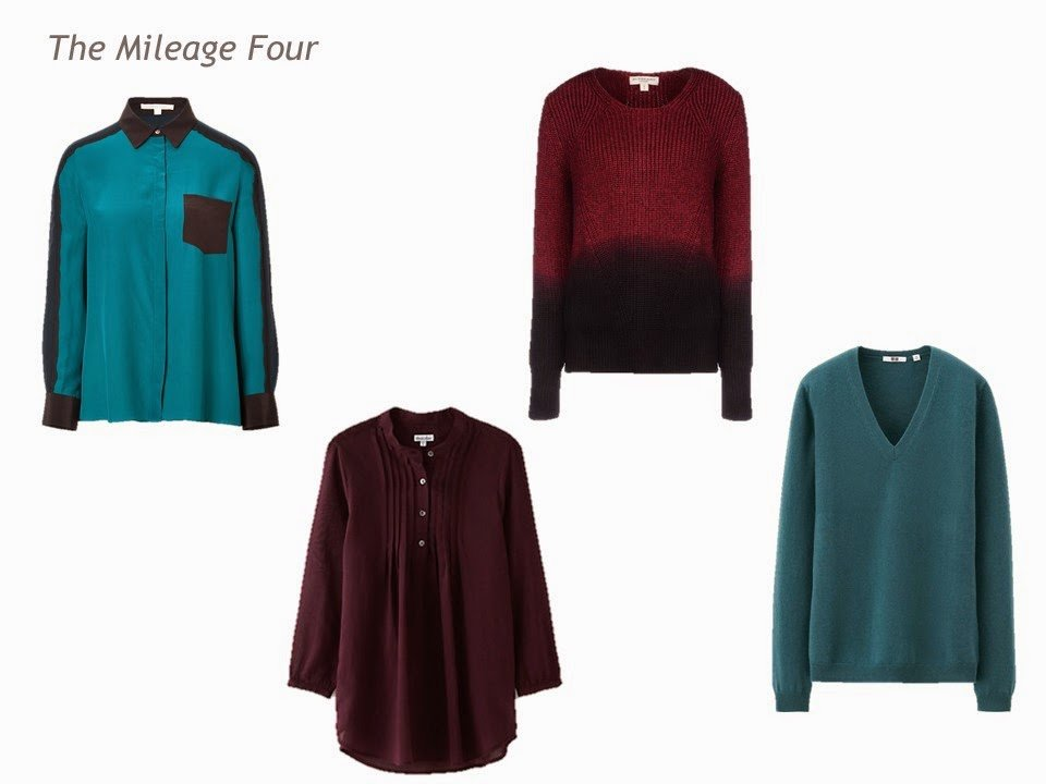The Mileage Four for a Four by Four Wardrobe in navy, grey, teal and burgundy