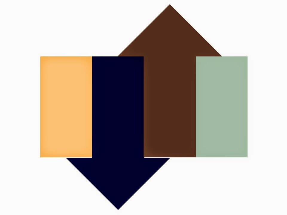 Wardrobe color scheme of apricot, celadon green, navy and brown