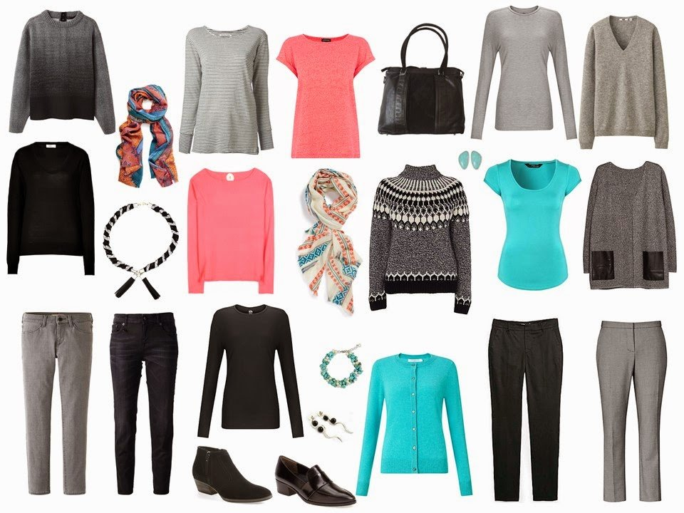 a 4 by 4 cold weather travel capsule wardrobe in Coral, Turquoise, Black and Grey