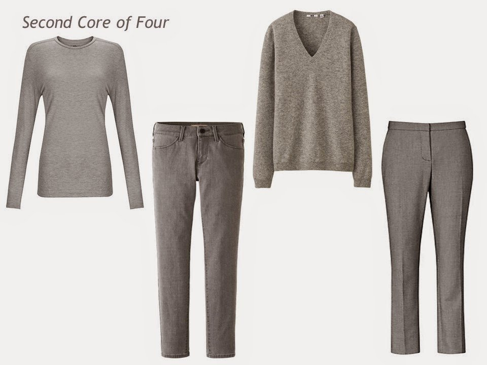 A Core of 4 in grey: tee shirt, jeans, v-neck sweater, and trousers