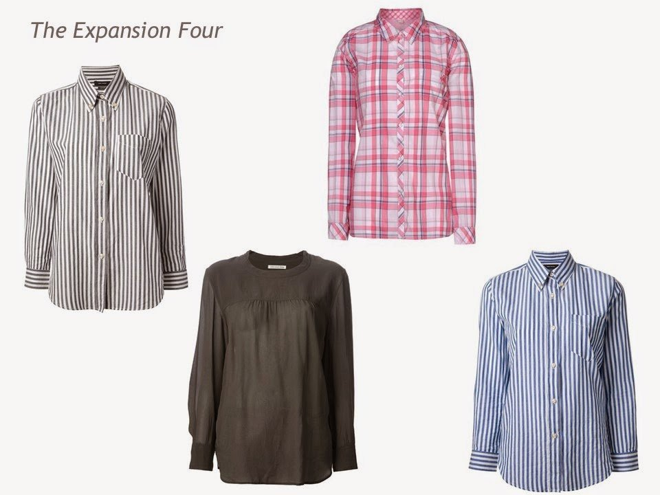 An Expansion Four: grey striped shirt, grey top, pink plaid shirt and blue striped shirt