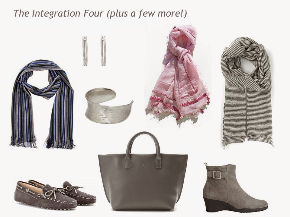 An Integration 4+ of scarves, shoes, jewelry and a bag