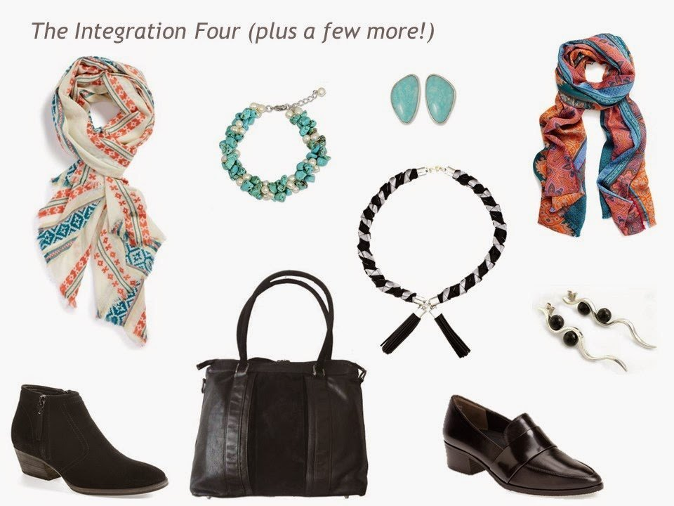 The Integration Four+ of scarves, jewelry, shoes and a bag, in Coral Turquoise, Black and Grey