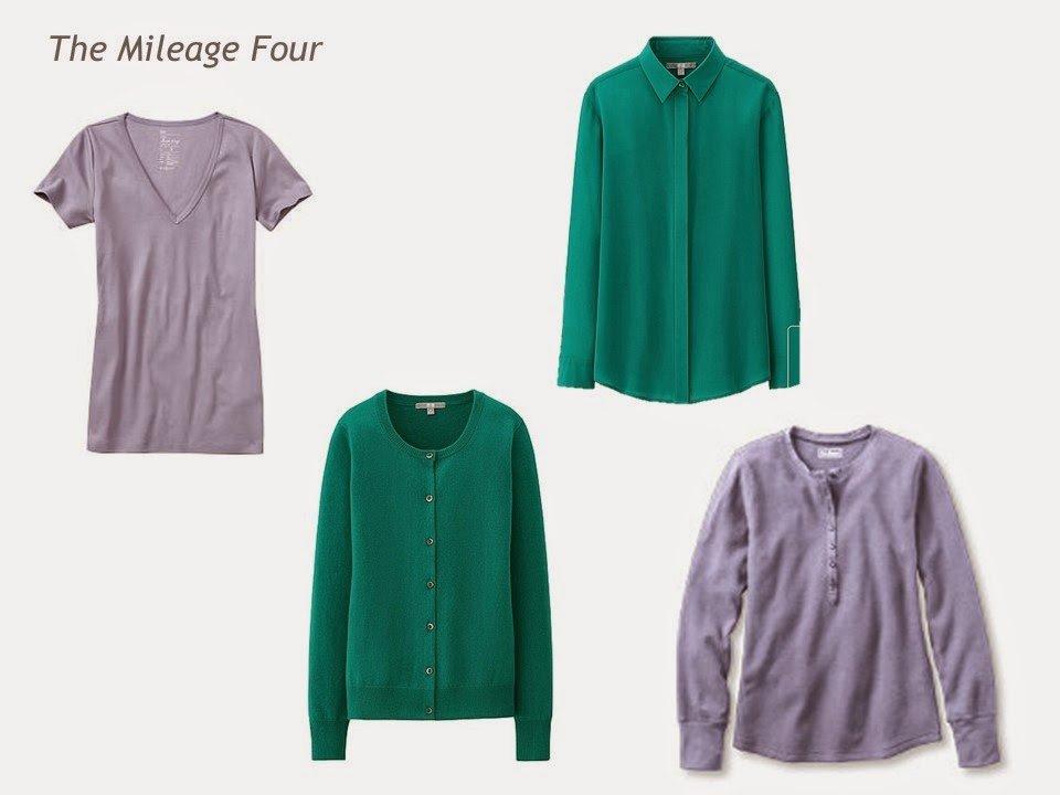 A 4 By 4 Capsule Wardrobe In Lavender Jade Denim And