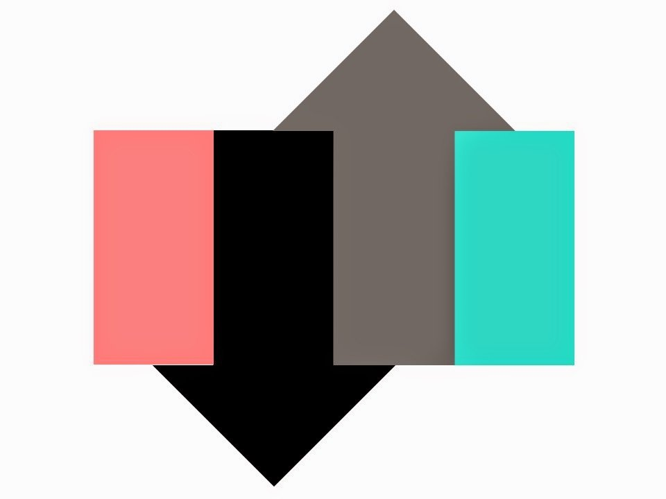 A color scheme graphic in Coral, Turquoise, Black and Grey