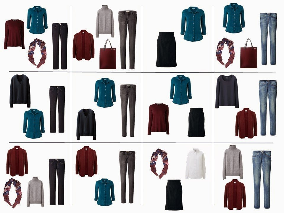 The French 5-Piece Wardrobe + A Common Capsule Wardrobe: Burgundy, Teal, Navy and Grey