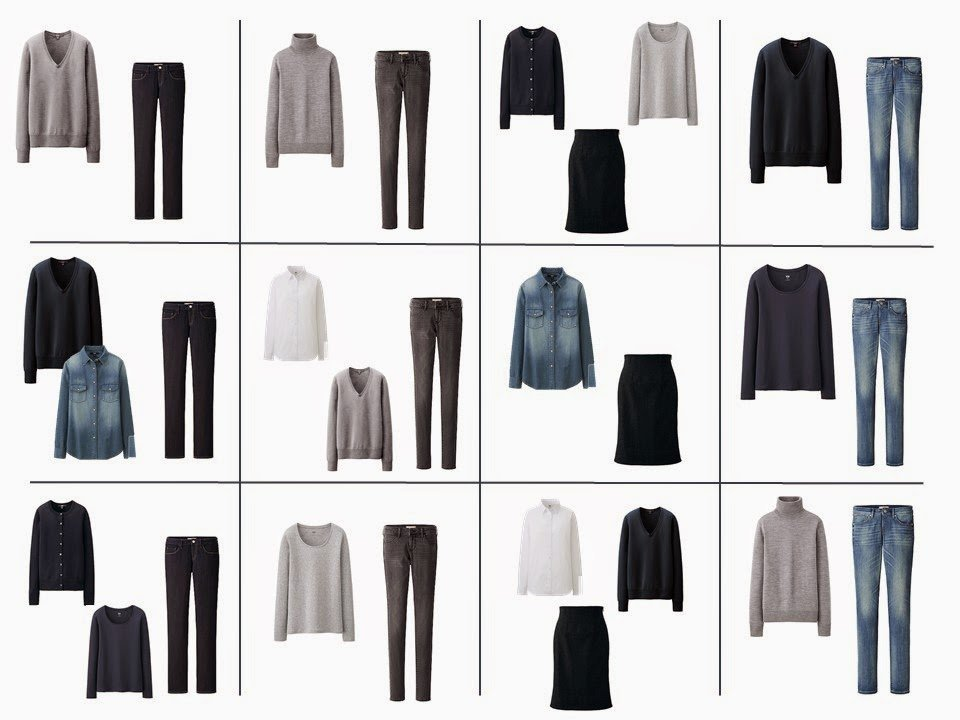 12 possible outfits from the 12-piece Common Wardrobe classic wardrobe core neutral wardrobe