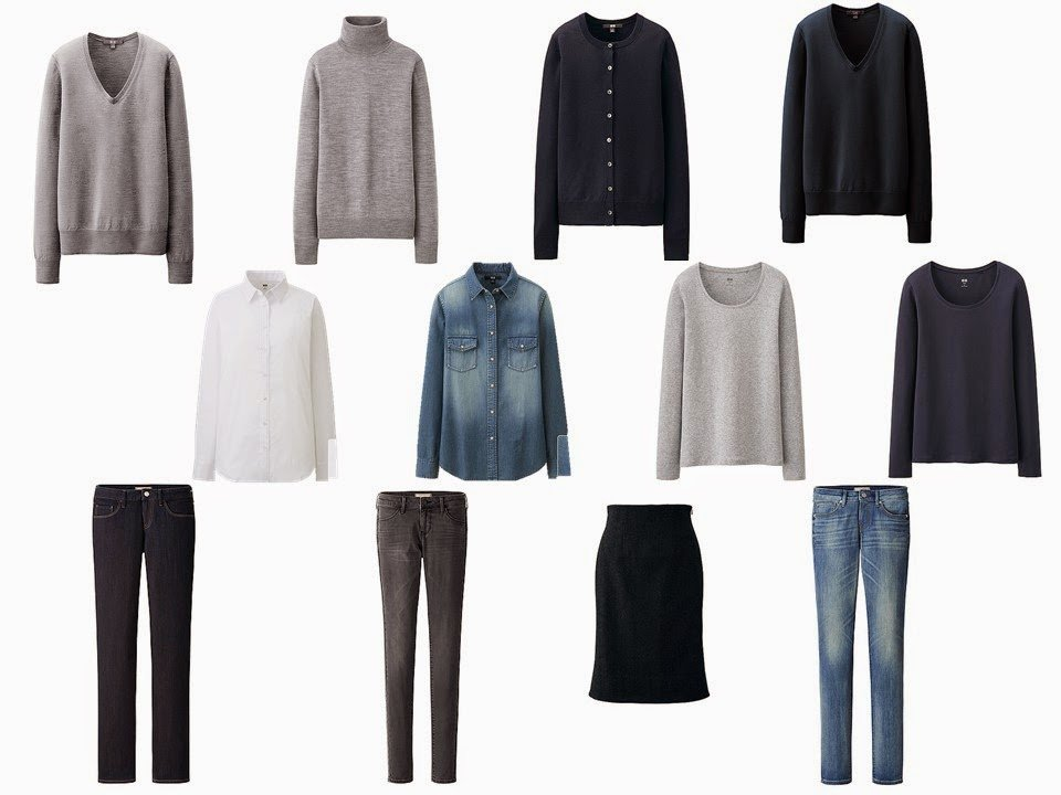 a 12-piece neutral wardrobe in navy, grey and denim