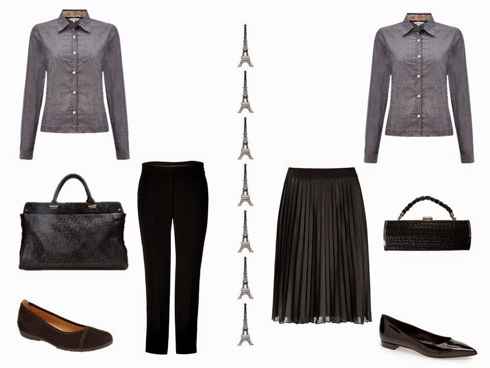 Denim shirt with black trousers, or denim skirt with dressy black skirt