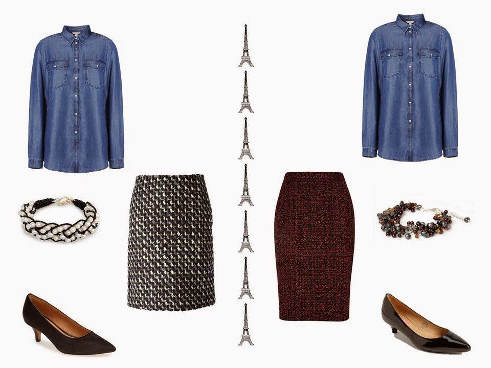 Can you wear a denim shirt with a tweed skirt and pumps? Yes!