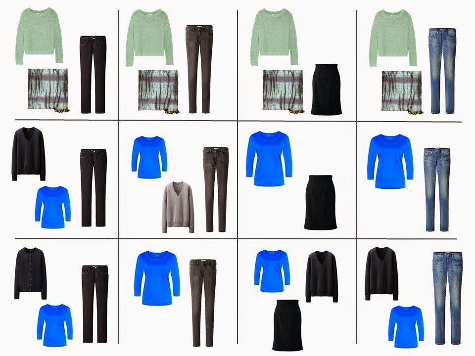 The French 5-Piece Wardrobe + A Common Capsule Wardrobe: blue, green, and grey