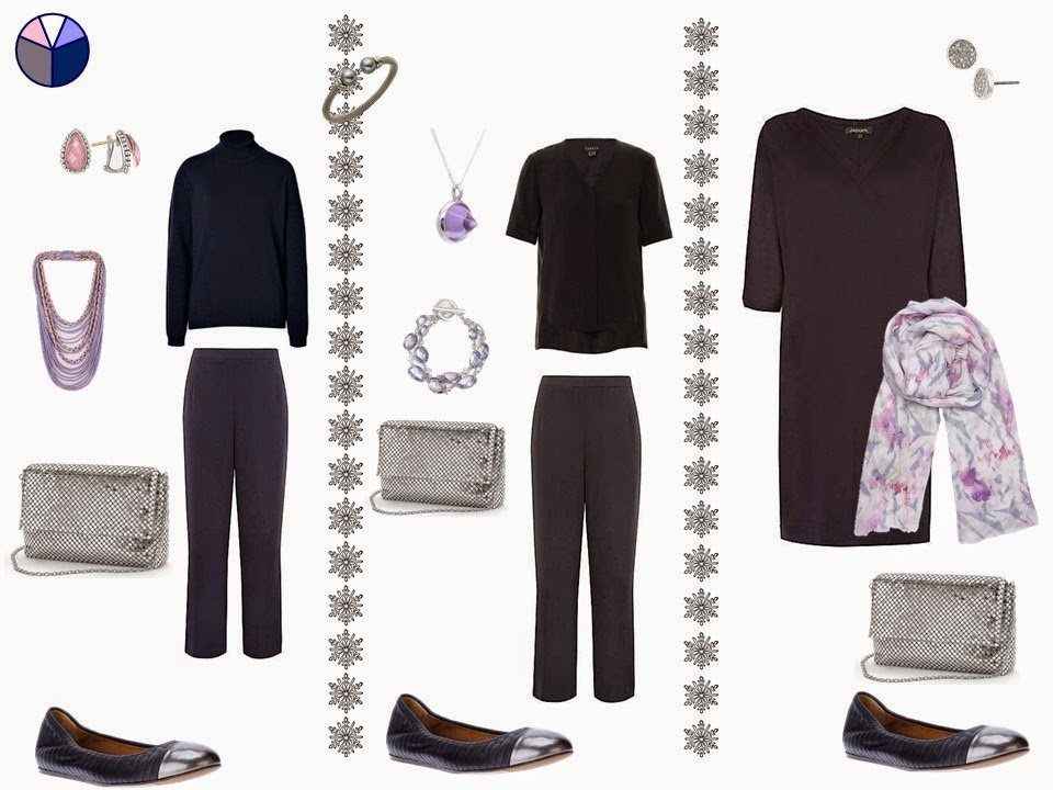 How to dress up a capsule wardrobe with metallic shoes and a small handbag