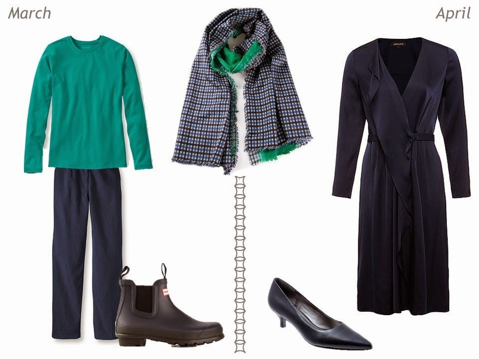 navy and green outfits for spring March and April