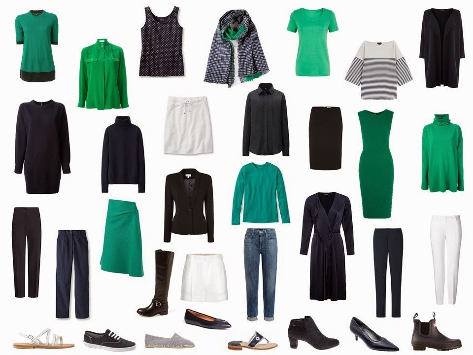 capsule wardrobe in navy and green for the entire year