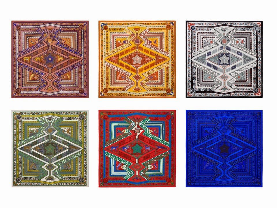 six different colors of Hermes Ors Bleus d'Afrique