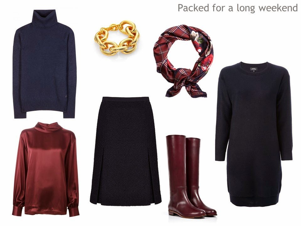 Navy and burgundy Four Pack travel capsule wardrobe
