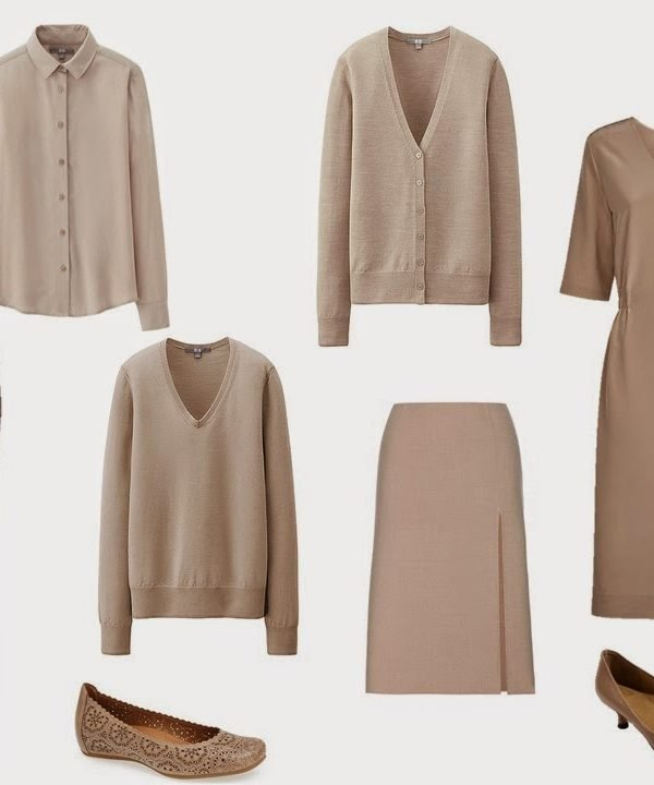 Beige Capsule Wardrobe with Accessories in Celadon Green, Brown and Light Blue