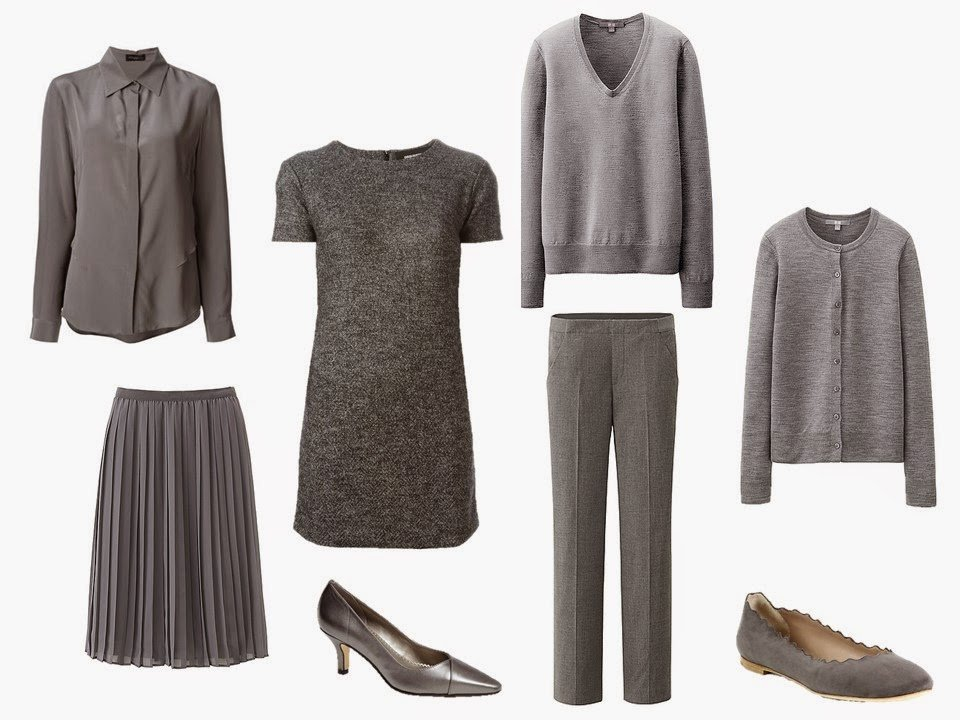 """six-piece """"Monday Morning"""" grey wardrobe with two pair of shoes"""