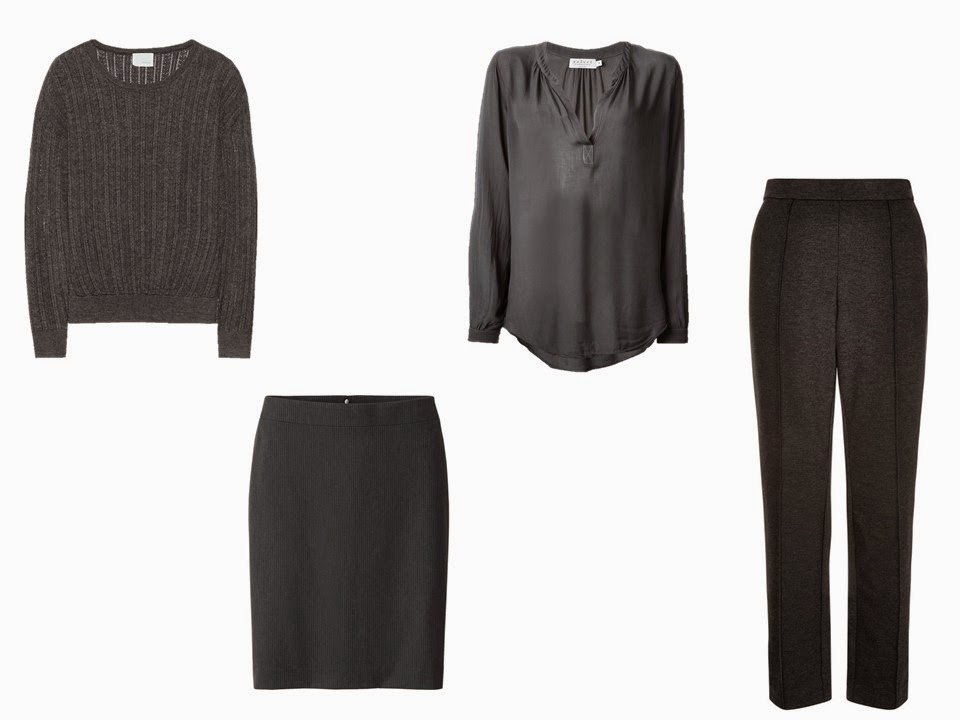 A charcoal grey Core of Four of a sweater, skirt, blouse and trousers