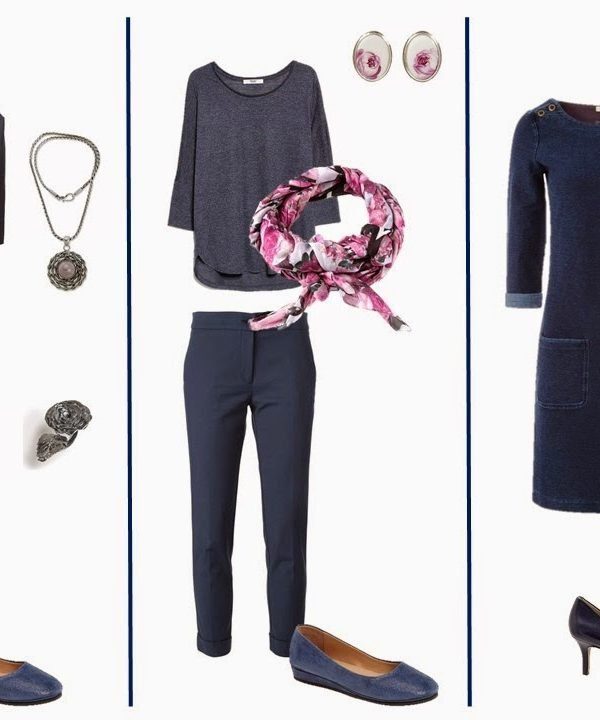 Denim Blue Capsule Wardrobe with Floral, Bright and Silver/White Accessories