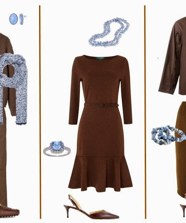 Brown Capsule Wardrobe with Accessories in Light Blue, Brights, and Brown