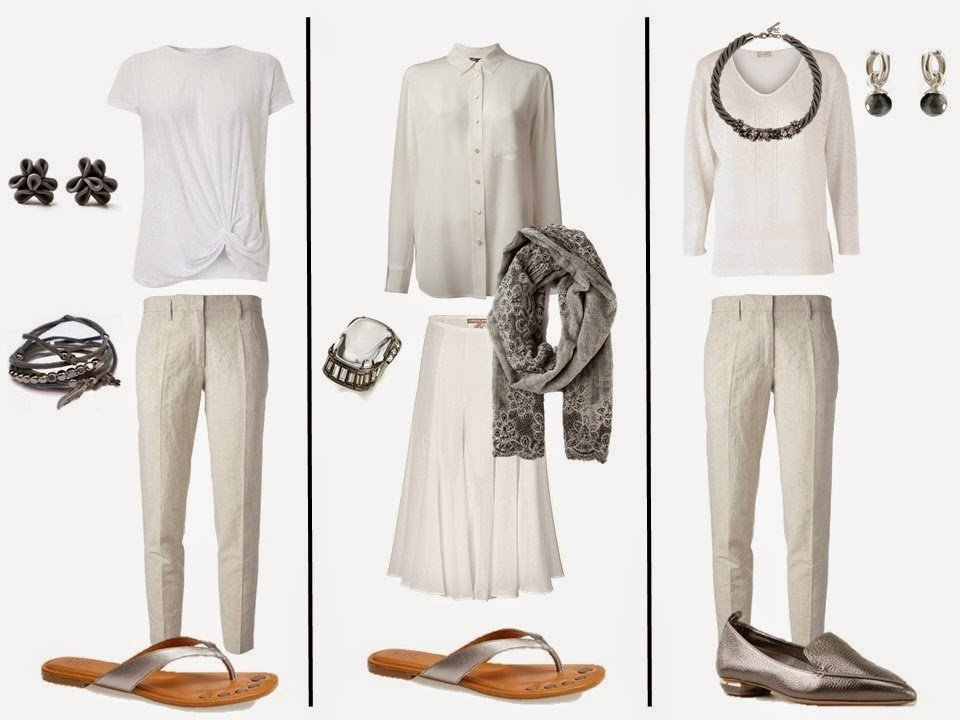 "three outfits from a white ""Monday Morning Wardrobe"" and silver grey accessories"
