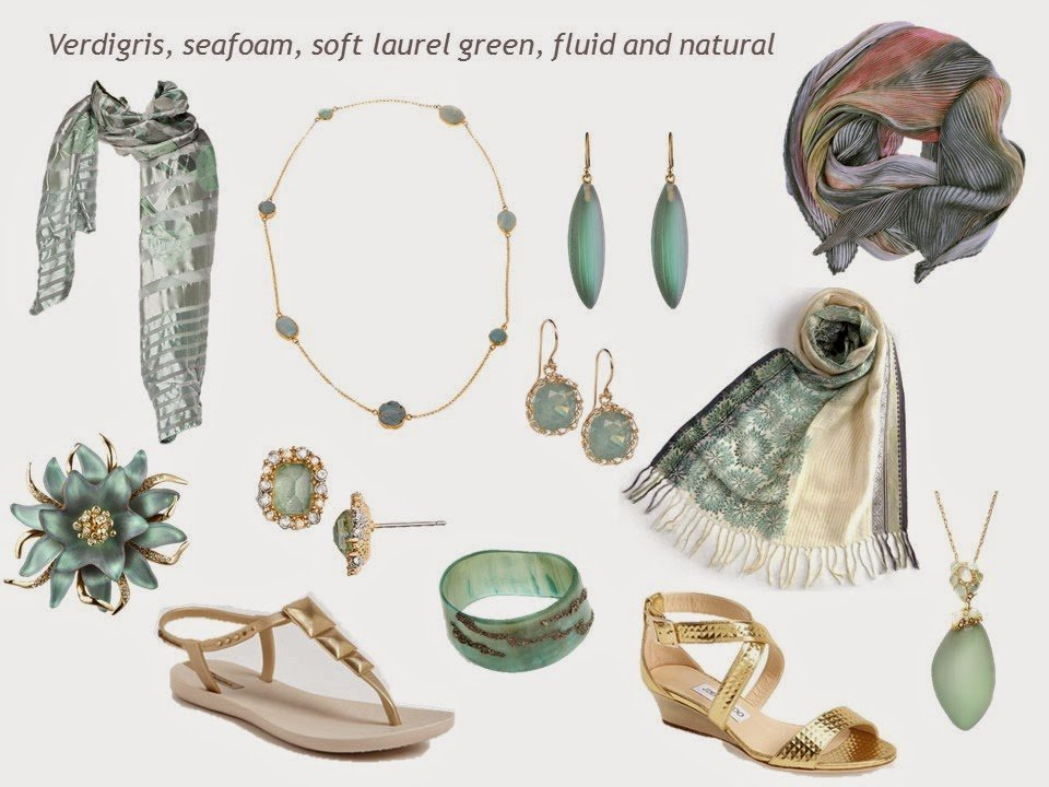 "a""family"" of soft green accessories, including scarves and jewelry, with gold sandals"