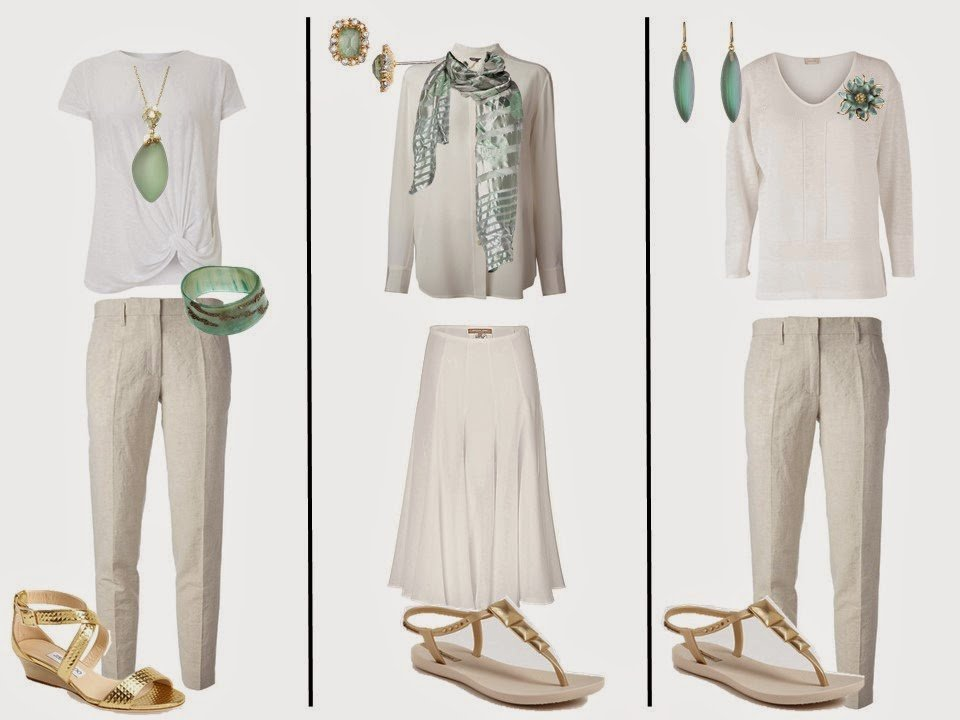 "three outfits from a white ""Monday Morning Wardrobe"" including soft green accessories and gold footwear"