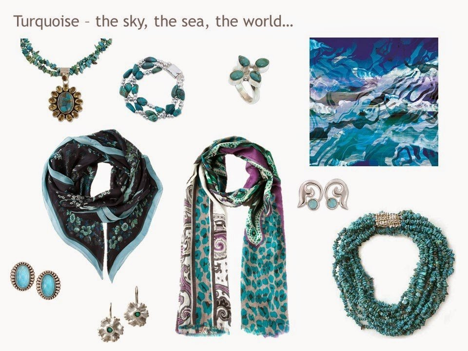 An assortment of turquoise-colored accessories, including jewelry and scarves