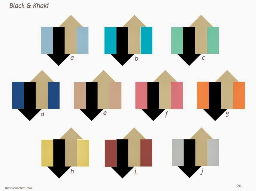 Black and Khaki, shown as a neutral combination with each of the Pantone Spring 2015 colors
