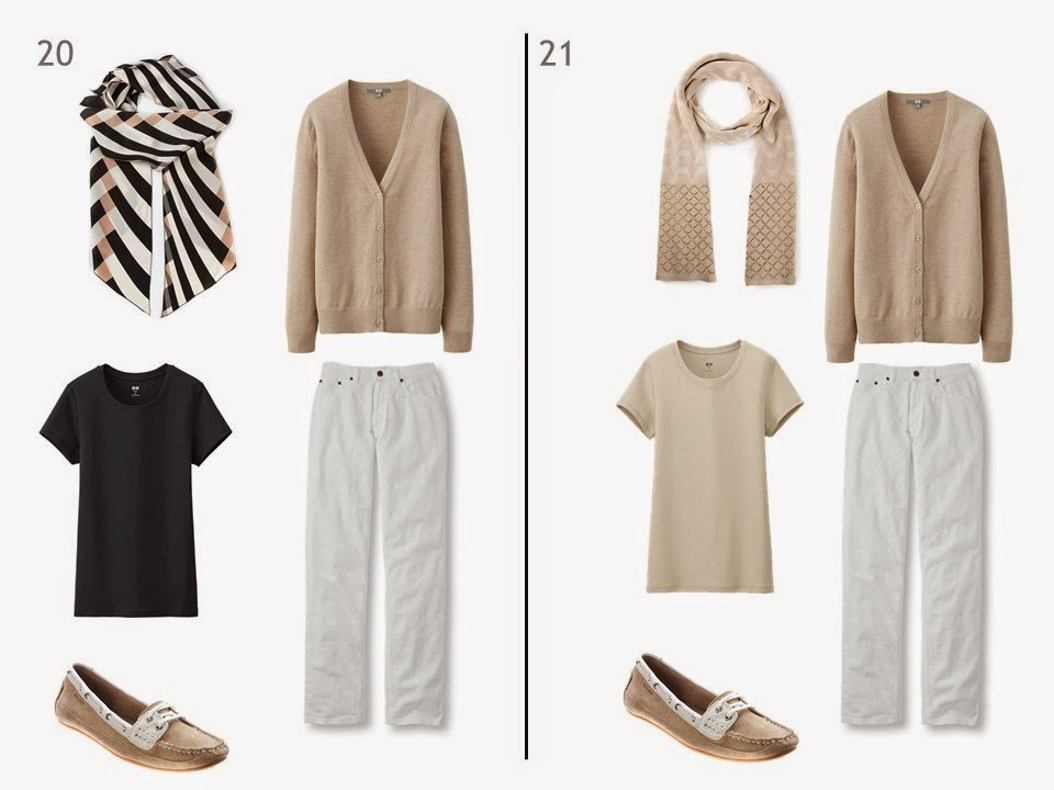 two outfits of a beige cardigan and white jeans, one with a black tee shirt and one with a beige tee shirt, each with a patterned scarf and beige and white boat shoes