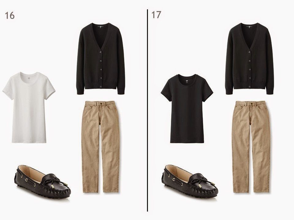 beige jeans and a black cardigan with either a black or white tee shirt and driving moccasions