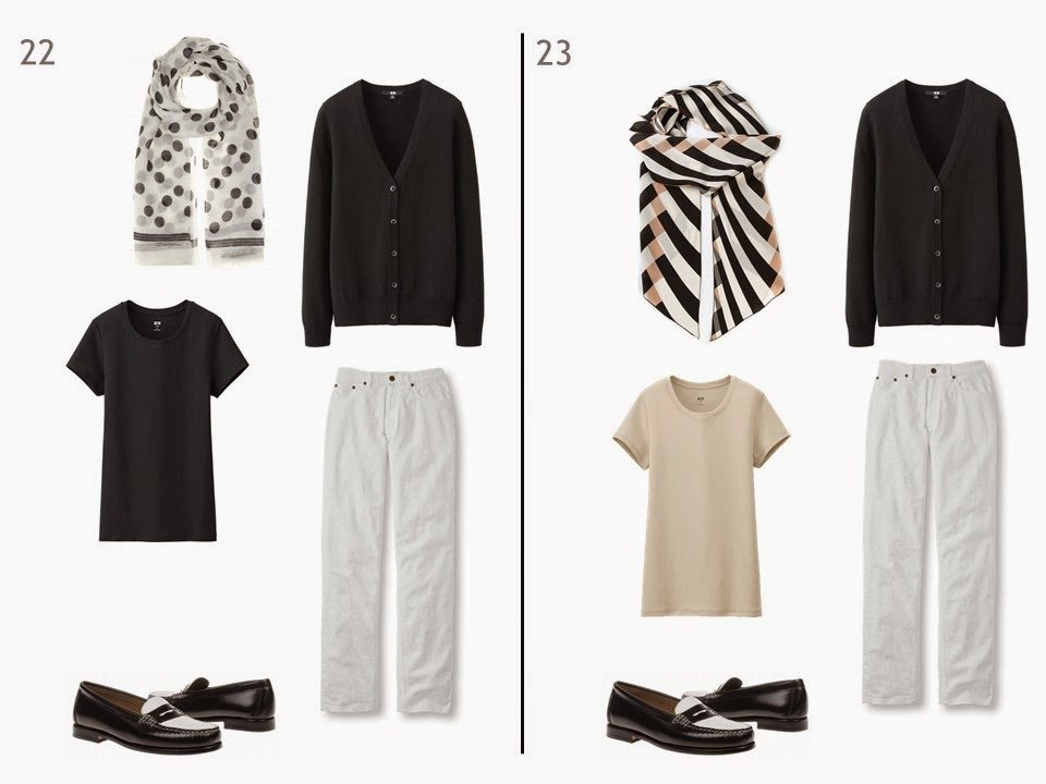 2 outfits of a black cardigan and white jeans, one with a black tee and one with a beige tee, each with a patterned scarf, and both with black and white penny loafers