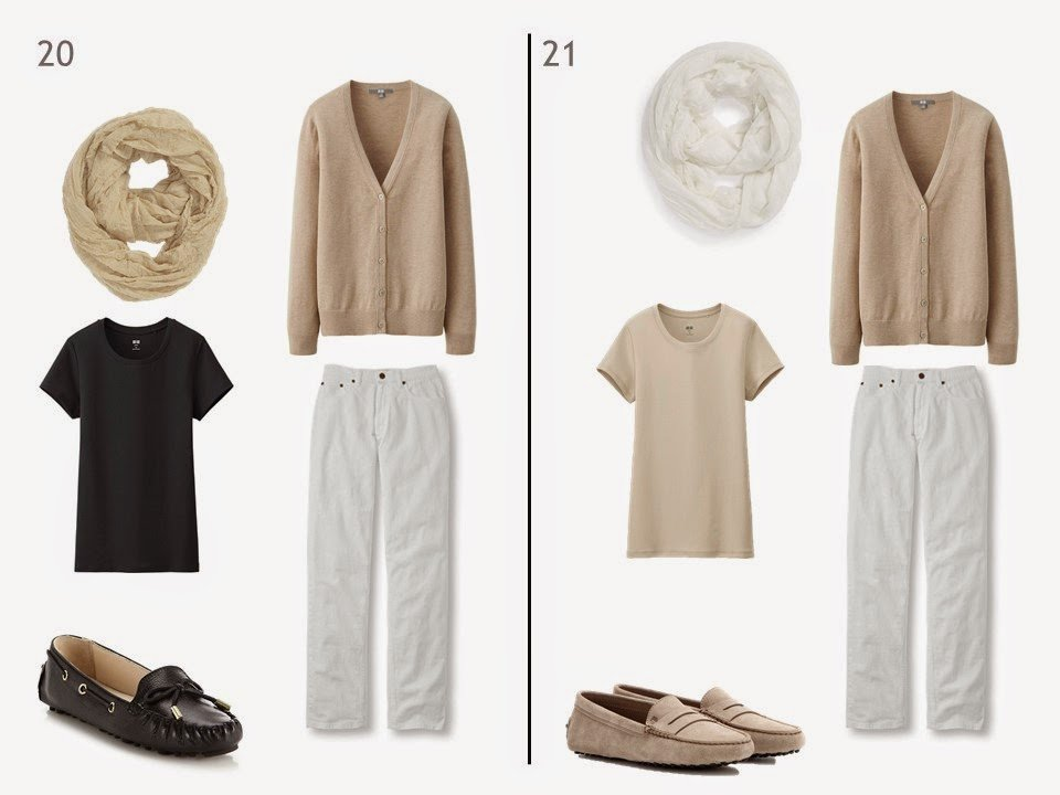 white jeans and a beige cardigan with either black or beige tee shirt and driving moccasions