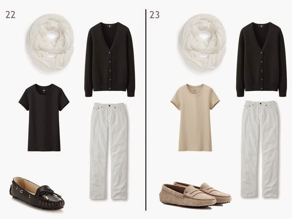 white jeans and a black cardigan with either a black or beige tee shirt and driving moccasins
