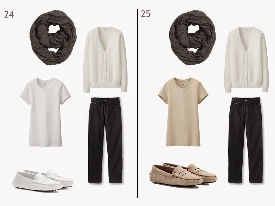 black jeans and a white cardigan with either a white or beige tee shirt and driving moccasins