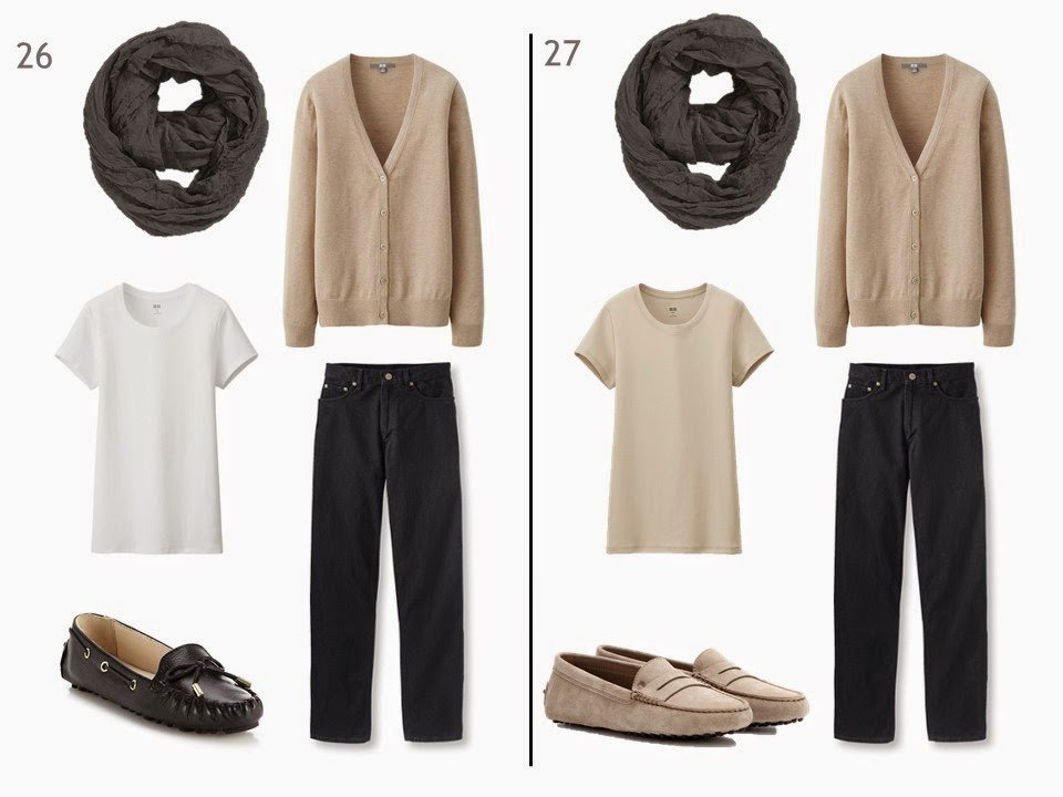 black jeans and a beige cardigan with either a white or a beige tee shirt and driving moccasins