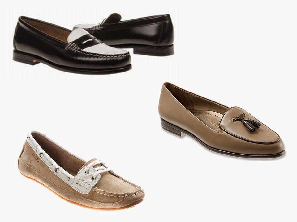 three pair of two-toned loafers, in black, beige and white