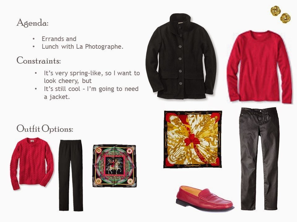 black jacket, red tee shirt, black waxed cotton jeans, with an Hermes scarf and red loafers